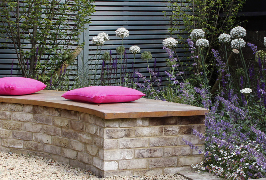 brick and oak bench, an interesting place to relax in our tunbridge wells, kent greencube garden
