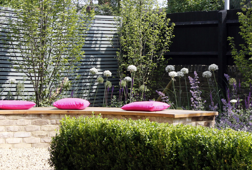 pink cushions adding to the theme, greencube in tunbridge wells, kent