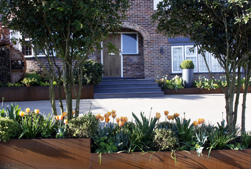 corten steel feature planters