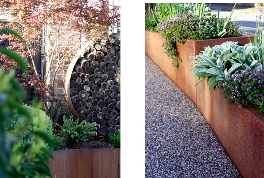 lush planting fills the corten steel planters