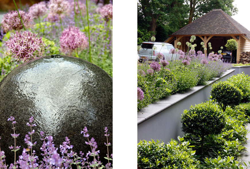 this stunning granite water feature creates a focal point in our tunbridge wells, kent garden design by greencube