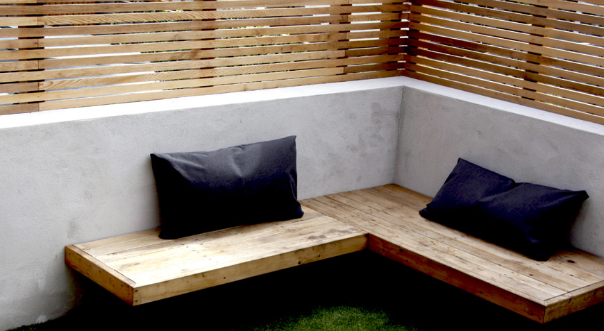 cantilevered seating maximises use of this small space in Sevenoaks, Kent by greencube