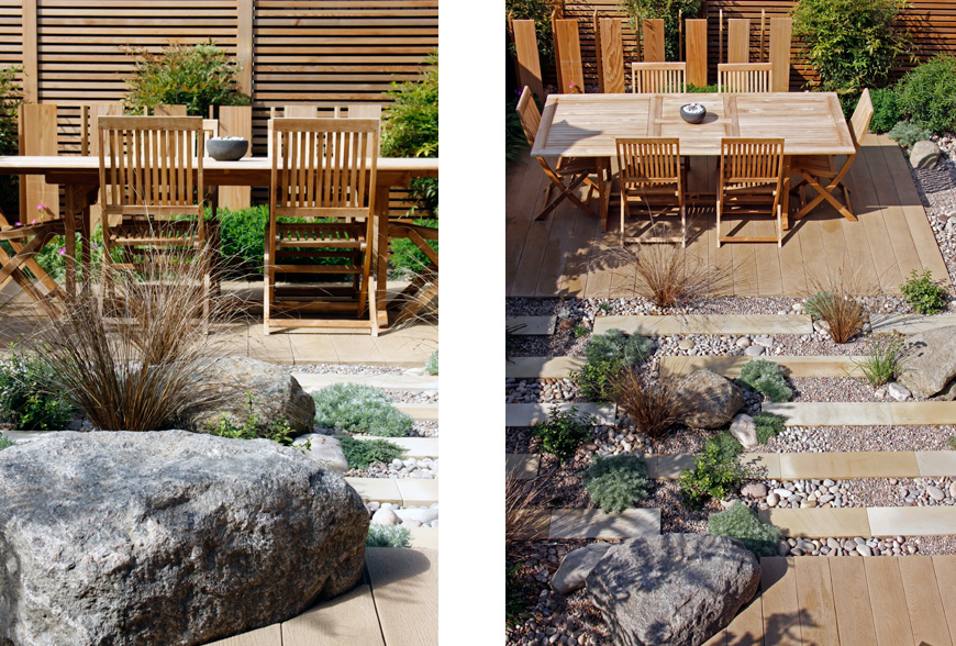 bold sculptural boulders used as a focal point in the borders in chislehurst, kent