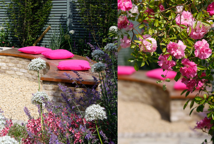 pink cushions and pink flowers in greencube's tunbridge wells garden