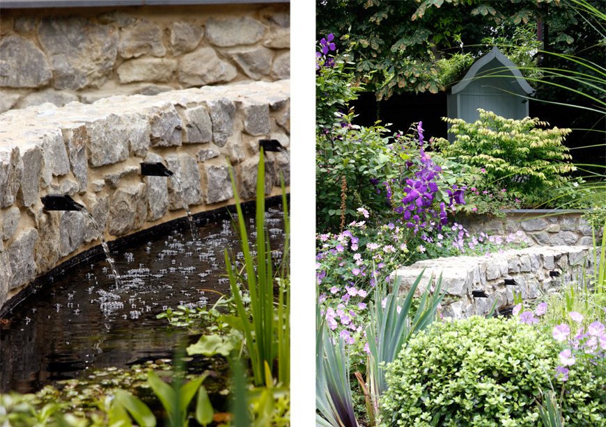water spouts trickle from ragstone walls surrounding the pond, in this greencube garden design in sevenoaks, kent