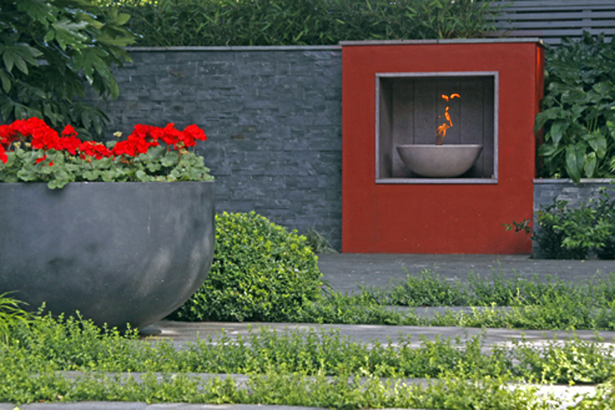 a bio ethanol firebowl creates a really warm atmosphere year round in our new barn, kent greencube garden design