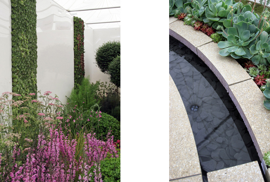 green living walls and reflective rill create further interest at chelsea flower show