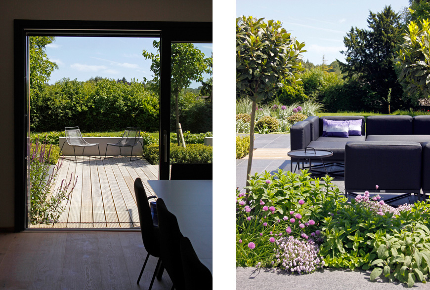 zero threshold joins inside to outside in greencube's speldhurst, kent garden