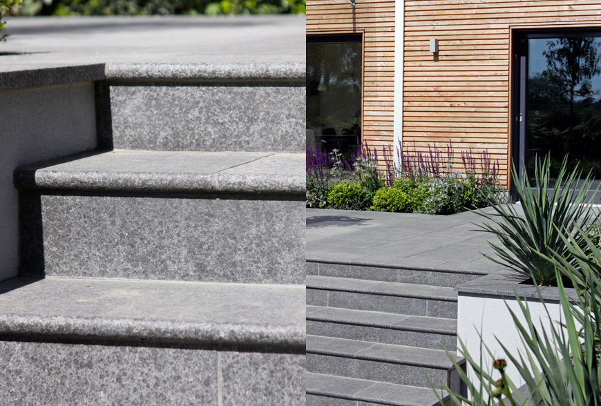 bullnose steps deliver a modern and classy feel in our greencube garden design in spelhurst, kent