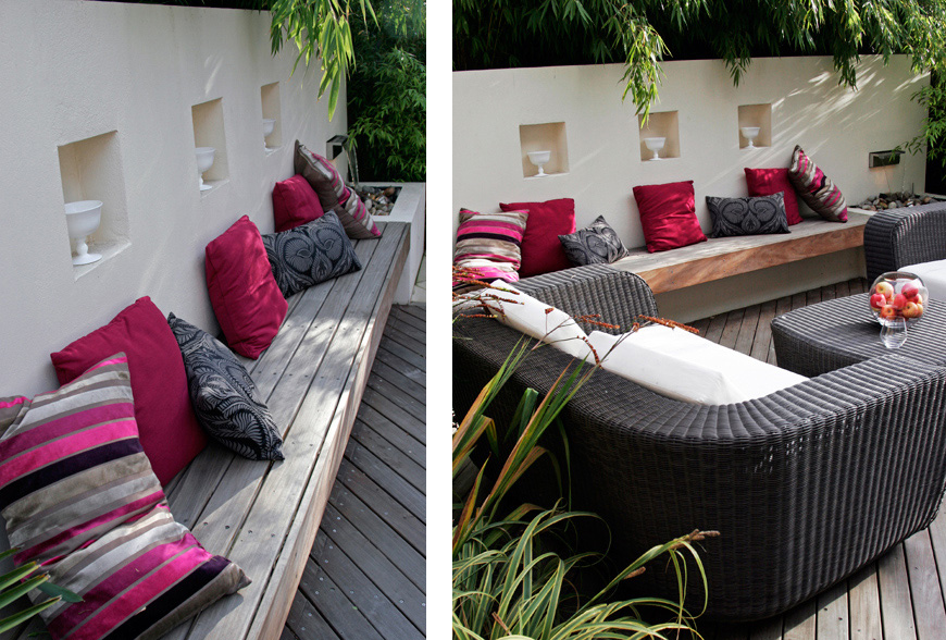 a cantilevered bench in our Twickenham, London garden design by greencube