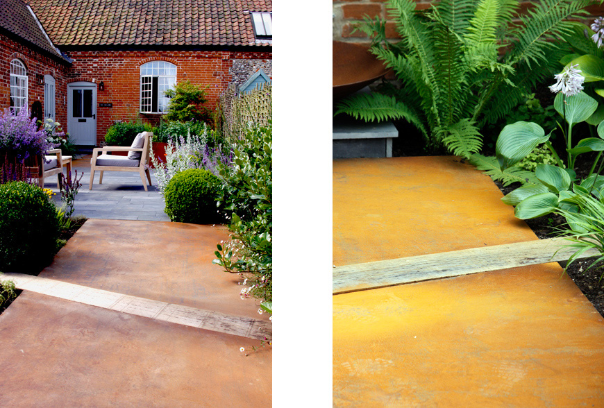 plank limestone paving mixed with wedges of Corten, in Great Walsingham, Norfolk